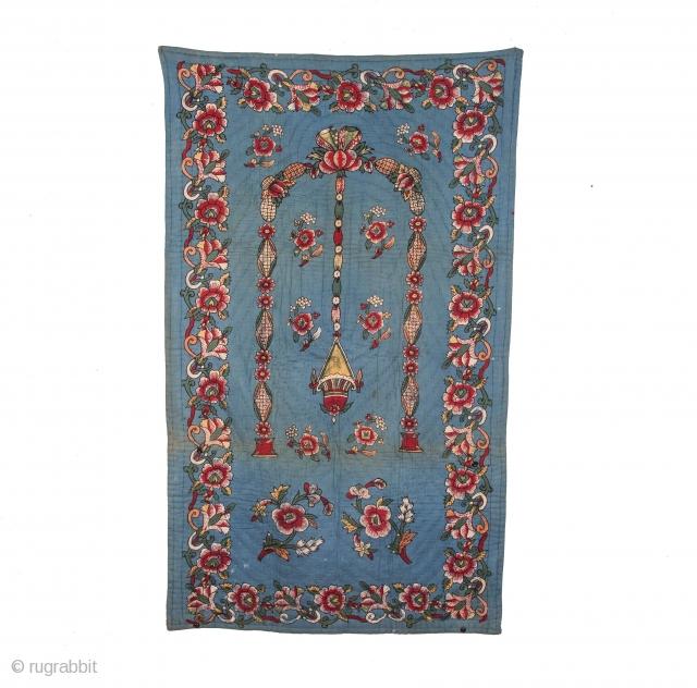 Anatolian Block Printed, Quilted Prayer Mat 88 x 150 cm / 2'10'' x 4'11''