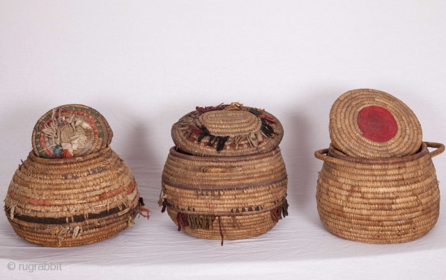 Ethnographic Old anatolian Basket Trio