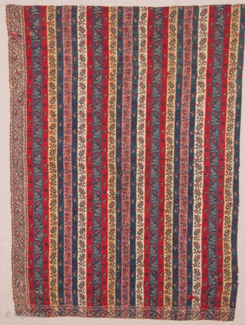 Indian Kashmir Shawl Fragment ( professionally backed on linen )