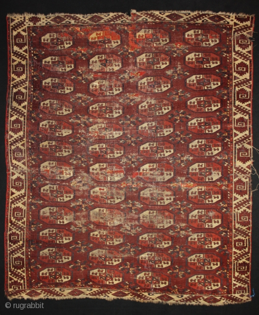 Early turkmen maincarpet, before 1800,open right, in as found condition, silk highlights