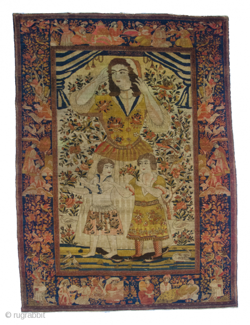 Antique Isfehan Rug 212x153cm. Signed Molla Samad  The Lady in the rug is supposed to be a Daghestani noblewoman by the name of Nina Alexandra Zakharoff. She was the daughter of a Christian  ...