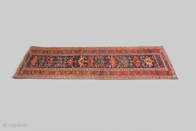 13094 Beautiful antique Shahsavan runner 387x97cm. Circa 1920. There are not many examples from this tribe compared to other tribes. However, they are almost all of very good quality and this piece  ...