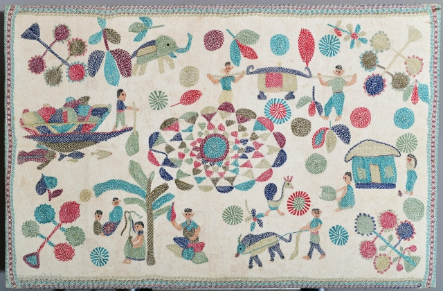 Bangladesh or India Kantha mounted on heavy frame (would need to dismount if shipped internationally). Some faint stains 35 x 24 inches