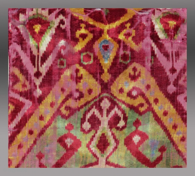 Detail - Uzbek Silk Velvet Ikat Panel, 19th C., 1' x 2'