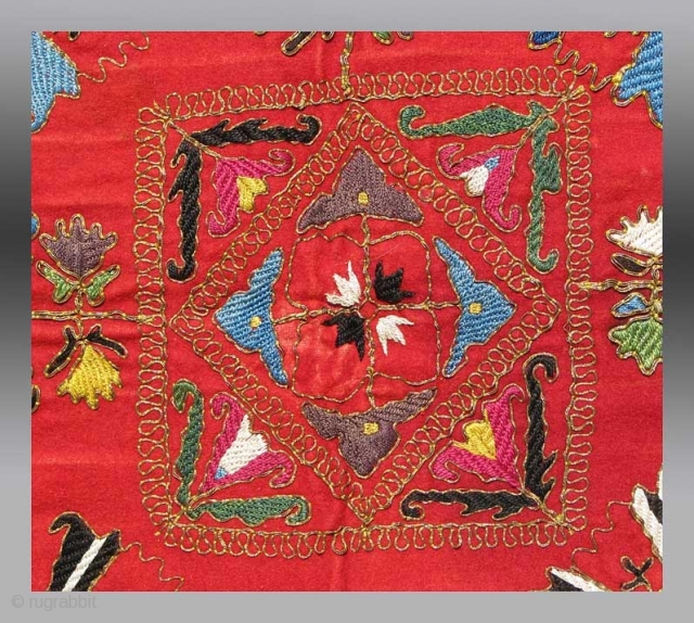 "Uzbek Kungrat(?) Embroidery, Central Asia, circa 1870, 2' 4"" x 2' 4""