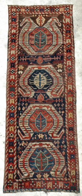 Kazak Lenkeron Runner circa 1870, classic drawing wonderful colours and in good condition, size is 316 x 114 cm.