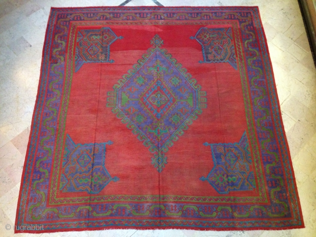 medallion Oushak style kilim, large, square, age is 100yo  380/380cm, is a special rug