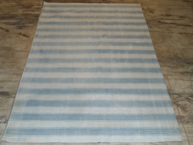 ANTIQUE AGRA BLUE WHITE DHURRIE