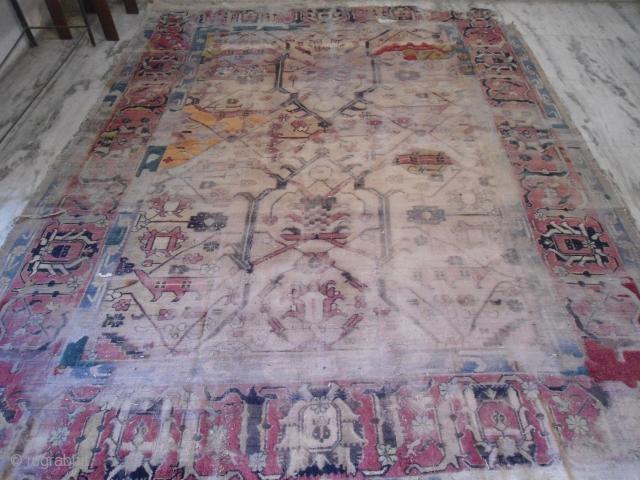 Antique Agra rug 8'.6'' x 11'.2'' worn worldwide shipping $175