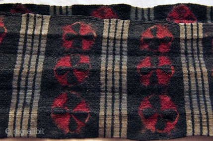 Vintage Tibetan Kaabo Kumarband or waist belt used to secure the robe. Nambu Tigma work all over. Natural Dyes. Circa 1930.