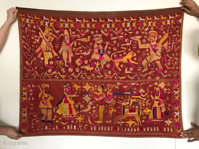 Antique Figurative Phulkari Temple Hanging Punjab with Inscription in Gurmukhi. More photos and details on