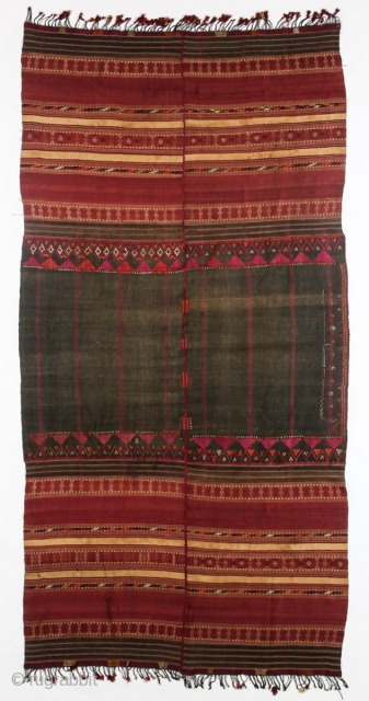 Gorgeous Waziri Shawl with rare embroidery. More photos and details on https://wovensouls.com/collections/antique-vintage-swat-valley-kohistan-nuristan-afghan-textiles-shawls/products/copy-of-865-antique-waziri-shawl.
