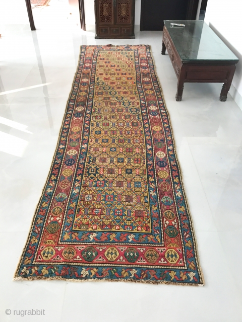 115 Antique Caucasian Rug - Gendge with a well detailed star lattice. For more photos and details please visit https://wovensouls.com/collections/weekly-sale-antique-textiles.