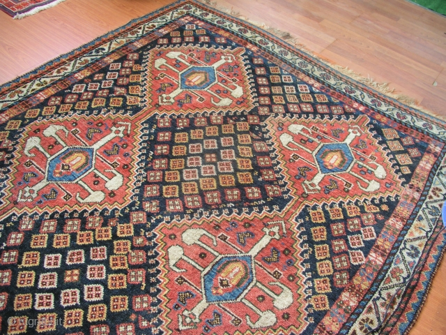 Antique Southwest Persian Lori Qashqai tribal rug .