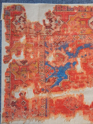 Antique Transylvanian Carpet Fragment  size.77x125cm