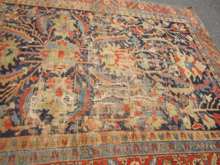 "beautiful antique heriz serapi rug 7' 11"" x 11' 9"" good general pile damaged in the middle loos to the ends no dry rot no pets and no smoke needs cleaning.