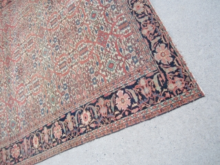 "Rare estate find antique 1880 farahan sarouk rug measuring 6' 10"" x 9' 10"" even dense low pile  all around both ends are missing a row or two has dry foundation  ..."