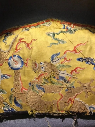 Tibetan lama hat, 38*23cm. Golden silk thread, dragon lucky clouds pattern. Dragon  pattern by the highest rank of the great living buddha, produced  in the 18th century.