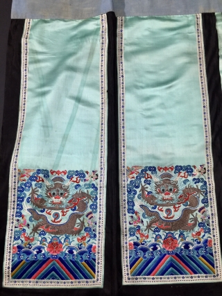Chinese beautiful antique skirt. The four dragon and eight phoenix embroidery in the light blue silks and satins, late Qing dynasty .