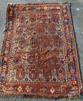 19 century colorfully Khamseh rug approximately 5ft x 6ft