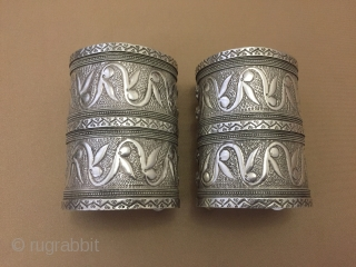 Central-Asia Turkmen-yomud silver pair bracelet talismanic design Great condition! Cleaned with silver polisher. Circa-1900 Size ''9.5cm x 7cm'' - İnner circuference : 15.5cm - Weight : 413 gr Thank you for visiting  ...