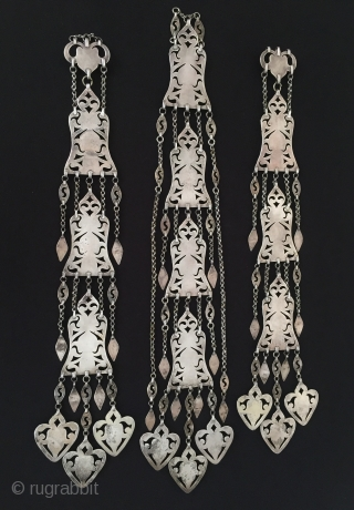 Central_Asia Turkmenistan Ethnic Silver Wedding Headdress with cornalian Fire gilded Excellent condition 20th C. Height ''54'' - Width ''5.5'' cm - Weight : 400 gr Thank you for visiting my rugrabbit store  ...
