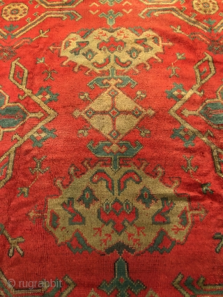 Antique Ushak carpet 341 x 275 cleaned and reasonable price one slightly low area otherwise good pile