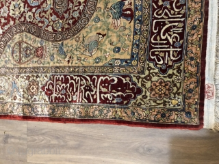 Lovely signed silk Hereke prayer rug mid 20 c about 1.5 x 1 m