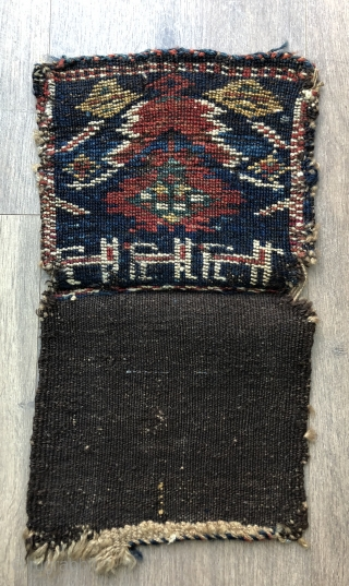 Nice little Kurdish chanteh bag with animals ca 1900 All wool natural dyes 21 x 18 cm