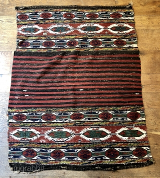 Nice antique Shasavan mafrash sides and bottom still joined ca 1880 all good colours some white cotton and metal thread  little animals and prayer rug in field 53 x 40 i