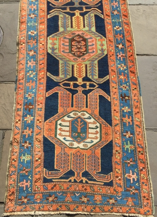 Lovely antique Heriz runner in excellent  ready to go condition dated 133 Size 17 ft 4 x 3 ft 2 (max)