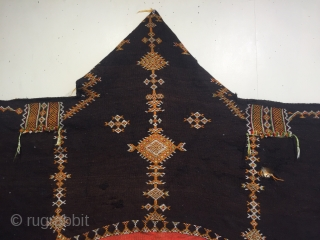 Old Moroccan Aknif (shepherds cloak ) brown is wool.  Large size 266 x 131 cm.  has some holes (see last 2 details) and some wax could use a clean priced  ...