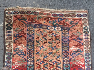 Lovely antique Kurdish runner pre 1880 good pile great wool one slit sewn up and one repair (Both detailed) Size 350 x 99 (max) cm fresh from a good private house
