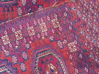 Tekke chuval ca 1860-1880 All wool and natural dyes lots of cochineal size 125 x 79 Very fine piece even wear selvedges missing one nasty repair at top detailed