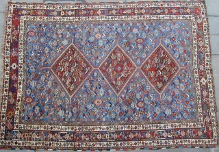 "Antique Khamseh ""chicken"" or ""murgh"" carpet late 19C size 10 ft 1 "" by 7 ft 3"".