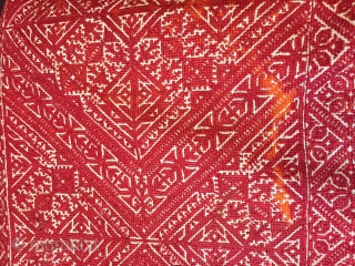 Large antique Moroccan Fez bolster cover 3 x 4 feet Made in 2 long sections would make 2 or 4 great cushion covers Embroidery great condition few small discolourations ( see detail) Natural dye