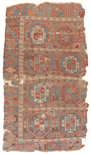 Lot 144, Early East Anatolian Divan Rug, 5 ft. 10 in. x 3 ft. 4 in., Turkey, first half 19th century, Condition: used, incomplete all around, some holes and losses, heavy signs  ...