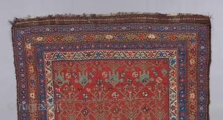 "Kurdish or Qashqai rug. Great field design with interesting negative space. 7'4"" x 4'."