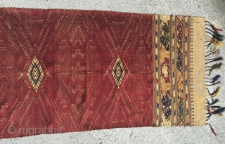 "Silk embroidered shawl from the Tae Daeng tribe of Laos.  10'5"" x 1'10""."
