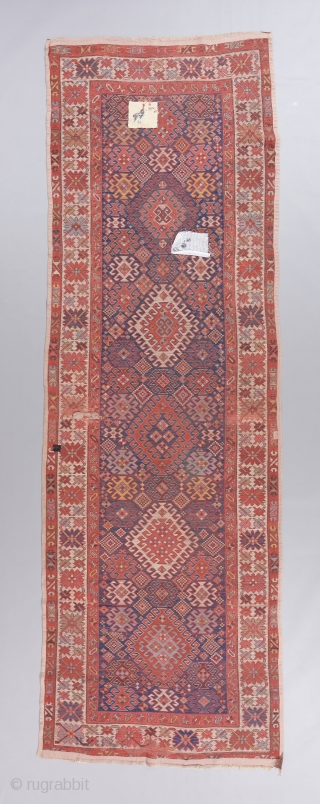 """Kazak long rug with dazzling colors. 11'7"""" x 3'10"""""""