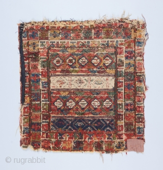 "Shahsavan? Soumak bagface. I believe this is a rare and early piece. 1'7"" x 1'6"".  Foundation is wool and cotton. The whites are in cotton. All original except for some small  ..."