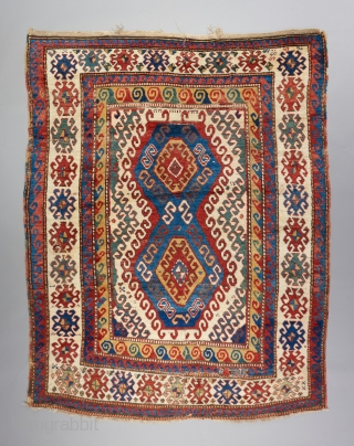 "Kazak with very good age. Great bold color and design that we all love too see in this type. 7'9"" x 5'3"". Great pile in some places. Cut and reattached in a  ..."