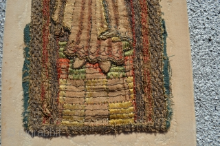 "Gothic or renaissance era ""English work"" embroidery. Silk and metal thread on linen. 12"" x 4 1/2""."