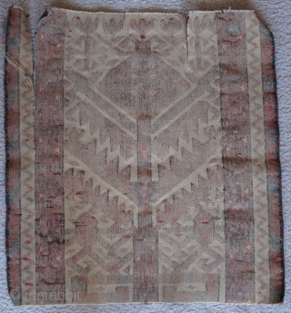 Exceptionally graphic Turkmen tentband fragment, velvety pile, vivid natural color including a few silk highlights. There are two clean easily repairable rips, otherwise in good shape.