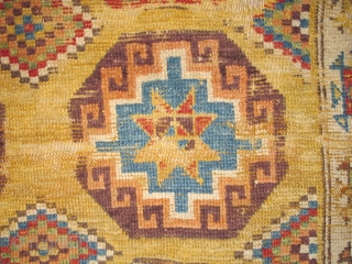 "Konya Memling Gul Rug, fragmented at top. Memling guls measure about 13"" square with some variations. Fantastic vibrant color including aubergine, apricot and modeled greens. Very probably 18th century, size is apx.  ..."