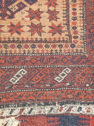 """Crisply drawn Camel Ground Baluch Prayer Rug with elongated stylized hands, depressed warp Khorosan type. Dated Baluch prayer rug, a piece from Basha's Baluch Collection. 2'7""""x4'7"""""""