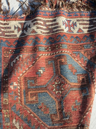 Very Old Central Asian / Uzbek small main carpet with crosses in octagons. Great diverse color and an amazing border of a type I have never seen anywhere else. The negative space  ...