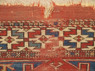 "Small format Bergama area Turkish rug with an intriguing design related to both sumaks and some yastiks. Squarish shape and nicely drawn with good color. About 38""×42"". Worn but very readable. Two-tones  ..."