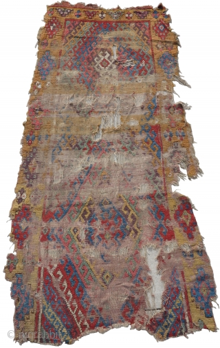 Central Anatolian Konya long rug, beautiful color and texture, very fragmented and worn. Former Charles Lave collection, Inv#C-136. Nice use of abrash, particularly in the border where yellow at the bottom changes  ...