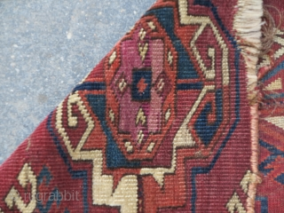 "Very uncommon Kizyl Ayak Turkmen main carpet fragment featuring large chuval-style guls with substantive silk highlights. 17""x24"""